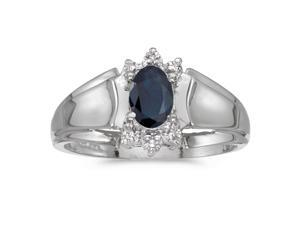 14k White Gold Oval Sapphire And Diamond Ring (Size 4.5)