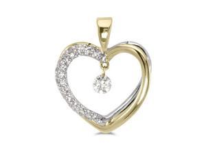"14K Yellow Gold Diamond Dashing Diamonds Pendant with 18"" Chain"