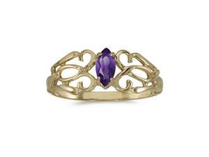 10k Yellow Gold Marquise Amethyst Filagree Ring (Size 8)