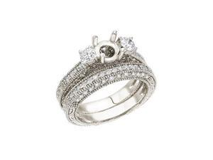 14K White Gold 1 Ct Bridal Fashion Diamond Ring Set (Size 8)