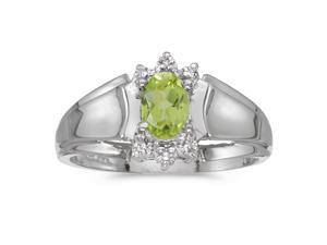 14k White Gold Oval Peridot And Diamond Ring (Size 5.5)