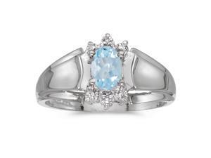 10k White Gold Oval Aquamarine And Diamond Ring (Size 9.5)