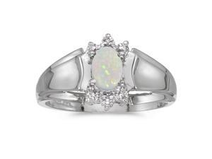 10k White Gold Oval Opal And Diamond Ring (Size 8.5)