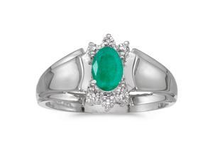 14k White Gold Oval Emerald And Diamond Ring (Size 4.5)