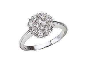 14K White Gold Diamond Clustaire Ring (1 carat)