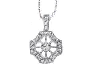 "14K White Gold Antique Inspired Diamond Pendant with 18"" Chain"