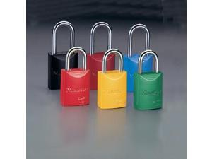 "Master Lock Yellow 1 31/32"" High Body High-Visibility Aluminum Padlock - Keye..."