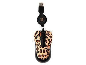 G-Cube GOL-60B 800 dpi Double-Click Button Retractable Mini Optical USB Wired Mouse (Lux Leopard) with Travel Pouch for Both ...