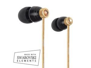 G-Cube Ear bud/MADE WITH SWAROVSKI® ELEMENTS/Black and gold/ In-Ear Ear phone/ For listening music on iPod, iPhone, iPad, ...