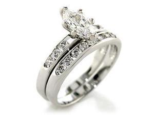 Amazing Womens 1.7ct Marquise Cut Engagement & Wedding Ring Set