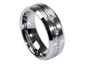 Mabella RMTCZ009-9 Men's Wedding Bands Tungsten Three Simulated Cubic Zirconia Ring