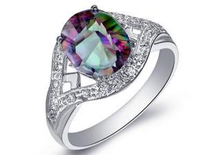 Mabella 2.1 Cttw Womens .925 Sterling Silver Genuine Natural Mystic Topaz (9mm*7mm) Oval Cut Engagement Ring