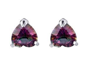 Mabella 3.0 cctw Womens .925 Sterling Silver Heart Cut 7mm Genuine Natural Mystic Topaz Earring Studs