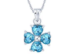 Mabella 2.0 cttw 4-Leaf Lucky Clover Womens .925 Sterling Silver Heart Cut 4 pcs 5 x 5 mm Created Blue Topaz Pendant