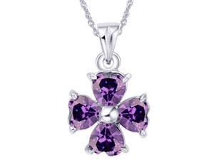 Mabella 2.0 cttw 4-Leaf Lucky Clover 5x5 mm Created Amethyst Pendant