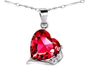 "Mabella 6.06 ct.tw. Heart Shaped 12mm x 12mm Created Ruby Pendant Sterling Silver w/ 18"" Chain"