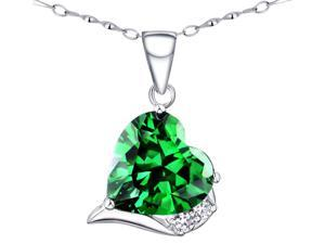 "Mabella 6.06 Ct.TW. Heart Shaped 12x12mm Created Emerald Pendant with 18"" Sterling Silver Necklace"