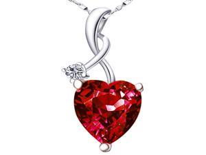 "Mabella 4.03 Cttw Heart Shaped Created Ruby in Sterling Silver Pendant with 18"" Necklace"