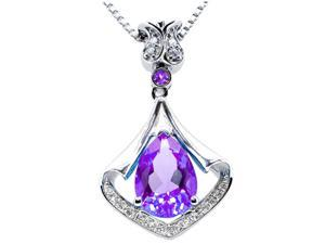 "Mabella PWS008CA 3.05 cttw Pear Shaped 8mm x 11mm Created Amethyst Sterling Silver Pendant with 18"" Chain"