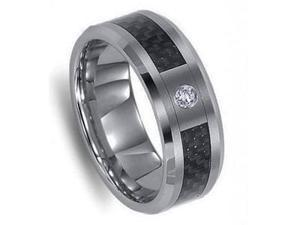 Mens Tungsten Black Carbon Fiber One Simulated CZ Stone Wedding Ring