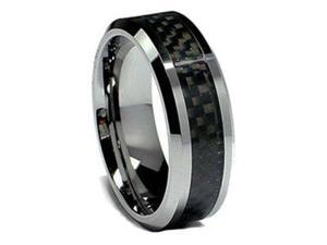 Tungsten Black Carbon Fiber Wedding Band Mens Wedding Ring