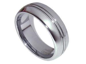 Mens 8mm Reminisce Tungsten Ring Brushed Polished Wedding Band