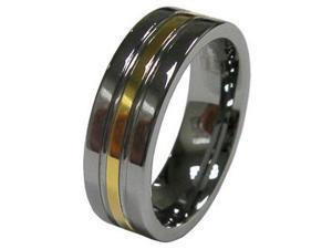 New Mens 8mm Gold Strip Tungsten Wedding Band Ring