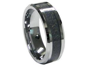 8mm Mens Tungsten Carbide Carbon Fiber Inlay Ring Wedding Band