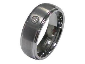 Men's 8mm Tungsten One Simulated Cubic Zirconia Wedding Band Ring