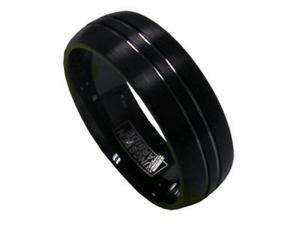8mm Mens Black Tungsten Silver Strips Wedding Band Ring