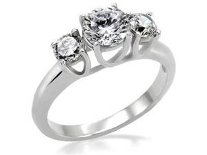 Hot & Nice Womens 316L Stainless Steel  Three CZ Stones Ring