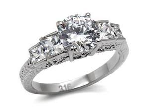 Womens Stainless Steel 1.9 Ct CZ Engagement Wedding Ring Band