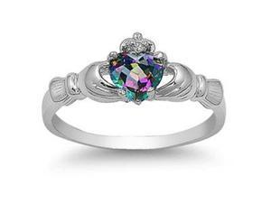Mabella 0.78 Cttw Womens .925 Sterling Silver Created Rainbow Topaz (6mm*6mm) Heart Cut Engagement Ring