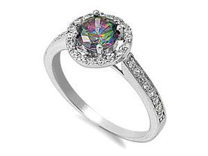 Mabella 1.42 Cttw Womens .925 Sterling Silver Created Rainbow Topaz (7mm) Round Cut  Engagement Ring