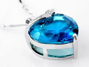"""Mabella 10.84 CTW Heart Shaped Created Blue Topaz Pendant in Sterling Silver w/ 18"""" Necklace"""