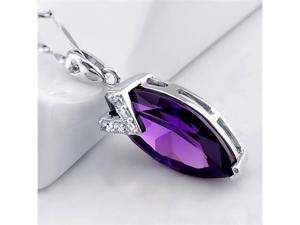 Mabella 7.96 CTW Marquise 20mm x 10mm Created Amethyst Sterling Silver Pendant Necklace