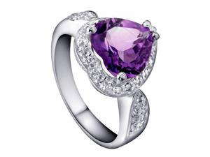 Mabella 4.00 Cttw Womens .925 Sterling Silver Created Amethyst(10mm*10mm) Heart Cut Engagement Ring