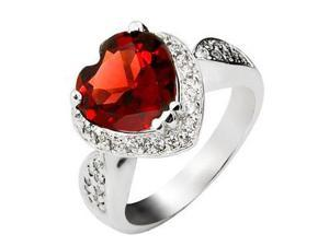 Mabella 4.00 Cttw Womens .925 Sterling Silver Created Garnet(10mm*10mm) Heart Cut Engagement Ring