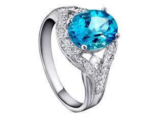 Mabella 2.1 Cttw Womens .925 Sterling Silver Created Blue Topaz (9mm*7mm) Oval Cut Engagement Ring