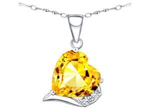 "Mabella Fashion PWS015CCTN 6.06 CTTW 12mm Heart Shaped Created Citrine Sterling Silver Pendant with 18"" Chain"