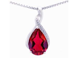 "Mabella .925 Sterling Silver 3.15 Cttw (8mm*12mm) Pear Cut Created Ruby Pendant with 18"" Chain"