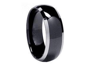 Mabella RMT019-13 Men's Tungsten Ip Polished Shiny Wedding Band Ring - Black