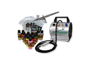 Nail Art Airbrush & Compressor System Kit 12 Paint Colors, Set 20 Stencil Design