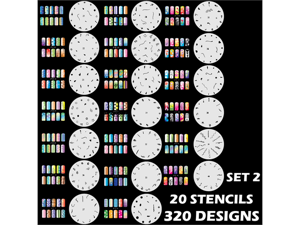 Set 2 320 Airbrush Nail Art STENCIL DESIGNS - 20 Template Sheets Kit Brush Paint