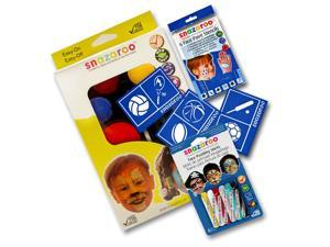 SNAZAROO BOYS Face Paint Kit Birthday Party Kids Stencils Crayons