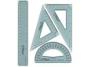 "C-Thru 8""/20cm Ruler Combo Set Geometry Drafting Protractor Triangle"