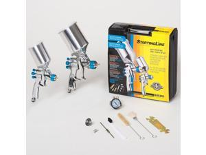 New DEVILBISS HVLP Auto Paint & Touch-Up SPRAY GUN SYSTEM w/ 2 StartingLine Guns