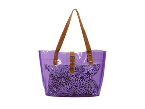 Bundle Monster PVC Vinyl Clear Transparent Carrier Beach Hand Carry Bag + Cheetah Print Cosmetic Tote - PUMPIN' PURPLE