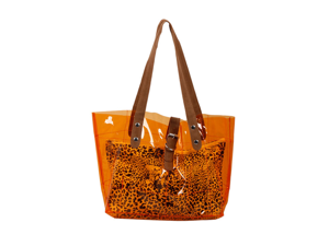 Bundle Monster PVC Vinyl Clear Transparent Carrier Beach Hand Carry Bag + Cheetah Print Cosmetic Tote - TANGERINE ORANGE