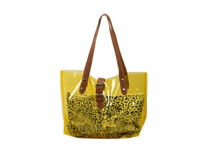 Bundle Monster PVC Vinyl Clear Transparent Carrier Beach Hand Carry Bag + Cheetah Print Cosmetic Tote - SUNSHINE YELLOW